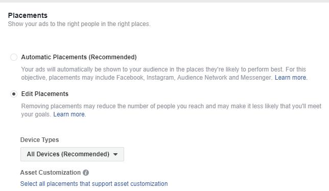 Placement ใน Facebook