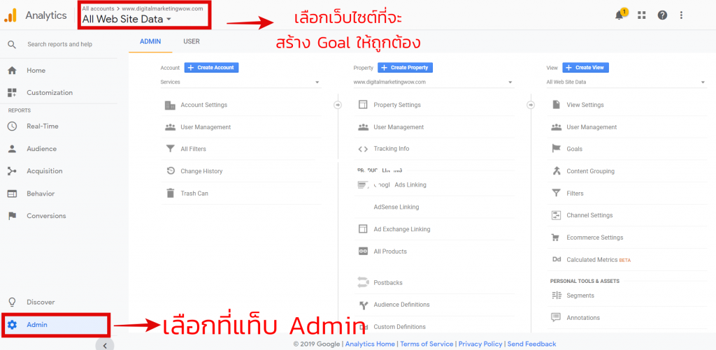 สร้าง Goal Google Analytics