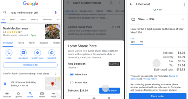 Google สามารถสั่งอาหาร